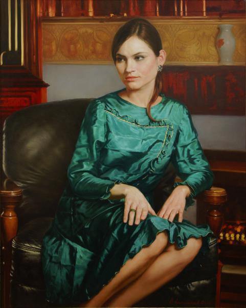 Владимир Александров. Девушка в изумрудном платье.