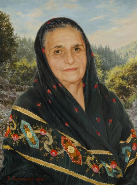 Владимир Александров. Портрет женщины в платке