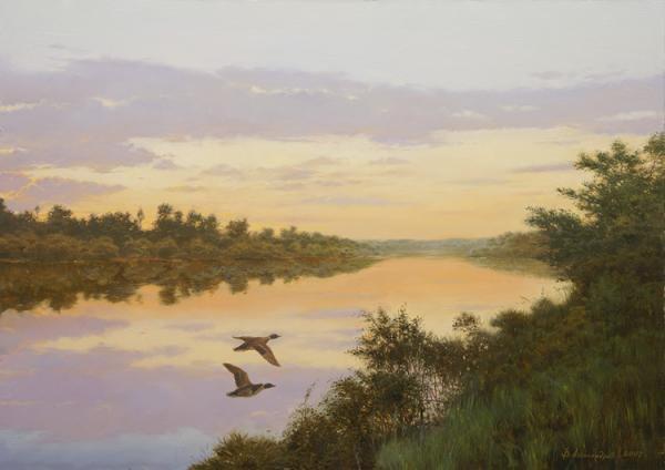 Владимир Александров. Поздний вечер на реке.